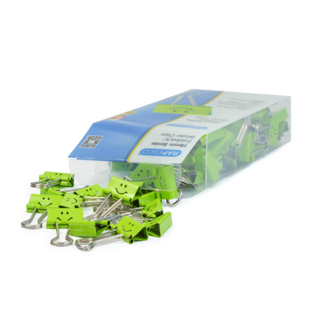 Foldback Clips Smiley Emoji - Green